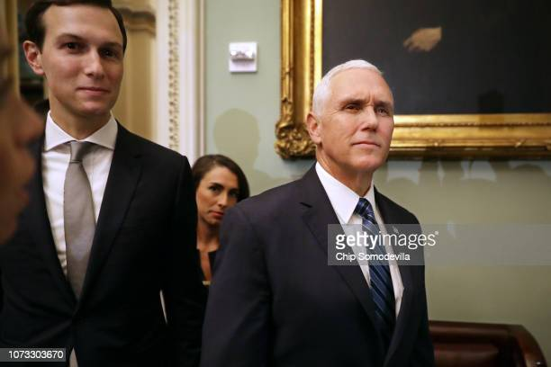 S Vice President Mike Pence and White House Senior Advisor and President Donald Trump's soninlaw Jared Kushner arrive for the weekly Senate...