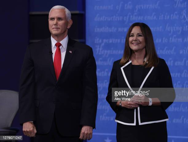 Vice President Mike Pence and wife Karen Pence appear on stage after the vice presidential debate against Democratic vice presidential nominee Sen....