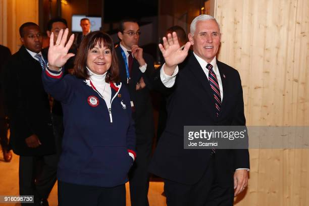 Vice President Mike Pence and wife Karen visit the USA House at the PyeongChang 2018 Winter Olympic Games on February 9 2018 in Pyeongchanggun South...
