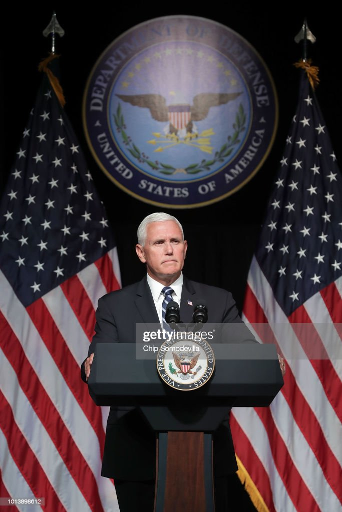U.S. Vice President Mike Pence announces the Trump Administration's plan to create the U.S. Space Force by 2020 during a speech at the Pentagon August 9, 2018 in Arlington, Virginia. Describing space as adversarial and crowded and citing threats from China and Russia, Pence said the new Space Force would be a separate, sixth branch of the military.
