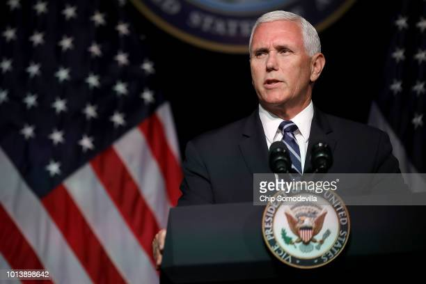 S Vice President Mike Pence announces the Trump Administration's plan to create the US Space Force by 2020 during a speech at the Pentagon August 9...