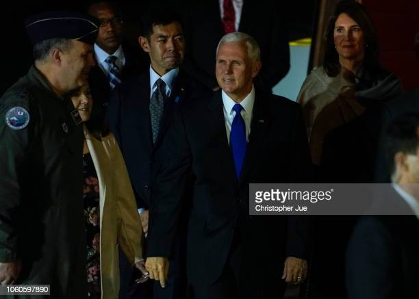 S Vice President Mike Pence arrives at Yokota Air Base on November 13 2018 in Fussa city in Western Tokyo Japan US Vice President Mike Pence arrived...
