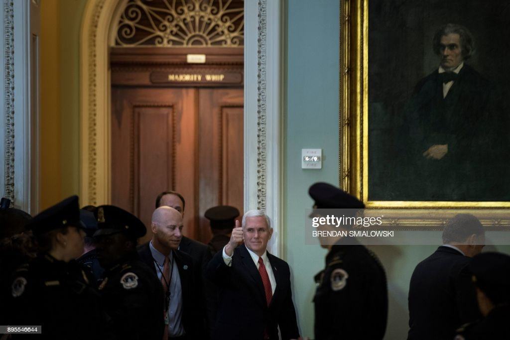 Vice President Mike Pence arrives for a luncheon with Senate Republicans as lawmakers continue to work for tax reform legislation on Capitol Hill December 19, 2017 in Washington, DC. / AFP PHOTO / Brendan Smialowski