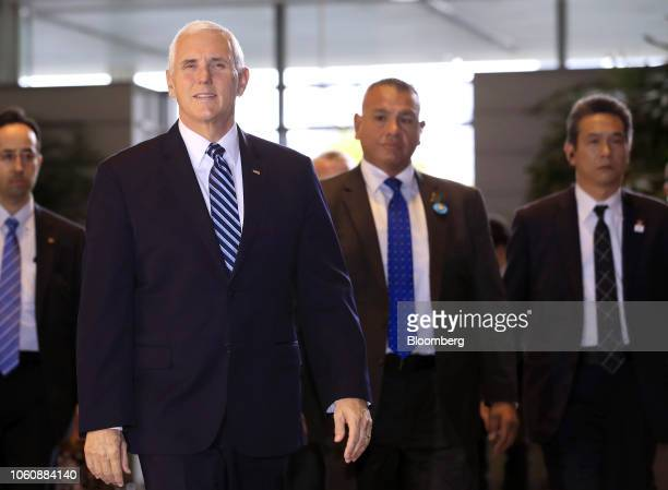 US Vice President Mike Pence arrives for a meeting with Shinzo Abe Japan's prime minister not pictured at the prime minister's official residence in...