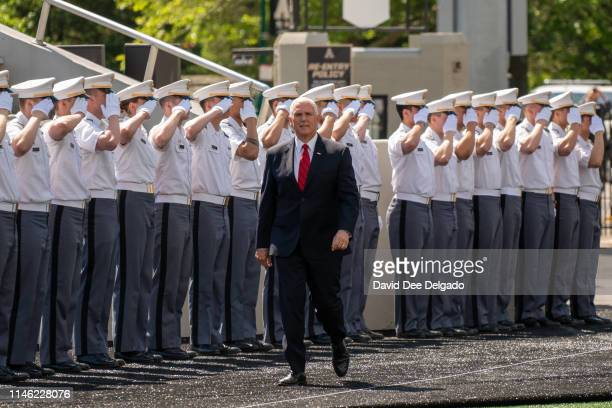 Vice President Mike Pence arrives for the U.S. Military Academy Class of 2019 graduation ceremony at Michie Stadium on May 25, 2019 in West Point,...