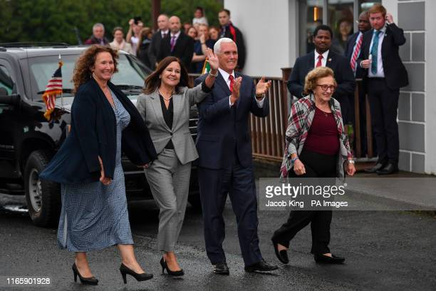 Vice President Mike Pence arrives in Doonbeg to visit Morriseys a seafood restaurant where he will dine with relatives including his sister Anne...