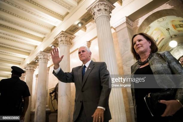 Vice President Mike Pence arrives on Capitol Hill May 22 2017 in Washington DC Pence is scheduled to meet with GOP lawmakers