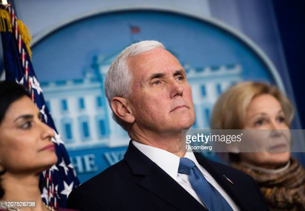 US Vice President Mike Pence attends a Coronavirus Task Force news conference in the briefing room of the White House in Washington DC US on Tuesday...