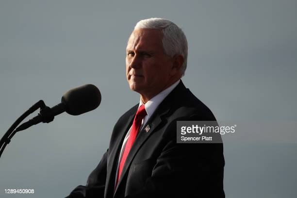 Vice President Mike Pence attends a rally in support of Sen. David Perdue and Sen. Kelly Loeffler on December 04, 2020 in Savannah, Georgia. The...