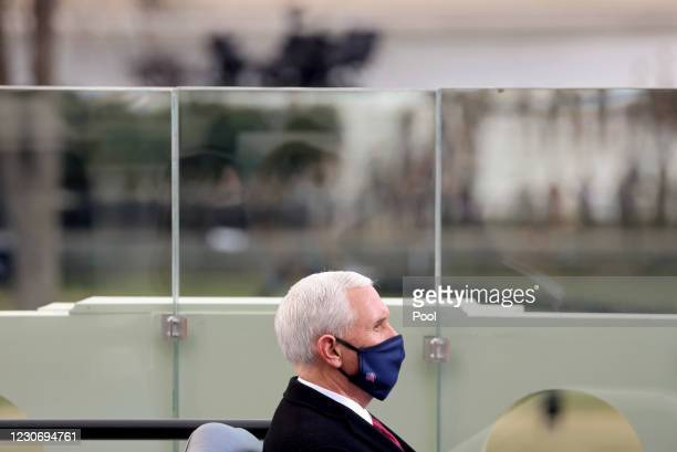 Vice President Mike Pence attends the inauguration of U.S. President-elect Joe Biden on the West Front of the U.S. Capitol on January 20, 2021 in...