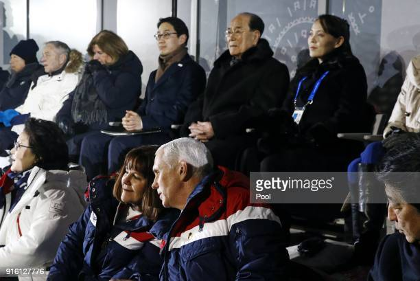 Vice President Mike Pence bottom right speaks with second lady Karen Pence at the opening ceremony of the 2018 Winter Olympics with behind Pence are...