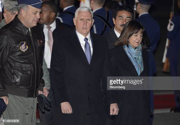 US Vice President Mike Pence center and Second Lady Karen Pence arrive at US Yokota Air Base in Fussa Tokyo Metropolis Japan on Tuesday Feb 6 2018...