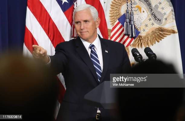S Vice President Mike Pence concludes his remarks during a naturalization ceremony September 17 2019 in Washington DC The naturalization ceremony was...