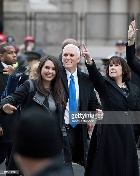 Vice President Mike Pence daughter Audrey Pence and wife Karen Pence walk during the Inaugural Parade on January 20 2017 in Washington DC Donald J...