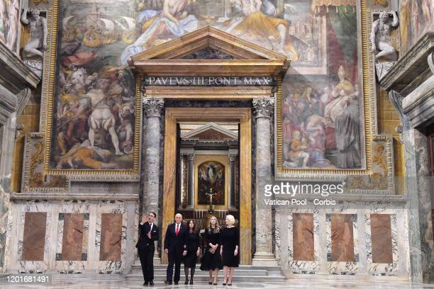 US Vice President Mike Pence daughterinlaw Sarah Mike Pence his wife Karen and Callista Louise Gingrich US Ambassador to the Holy See visit the Sala...