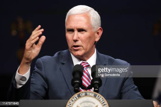S Vice President Mike Pence delivers a keynote address during Access Intelligence's Satellite 2019 Conference and Exhibition at the Walter E...