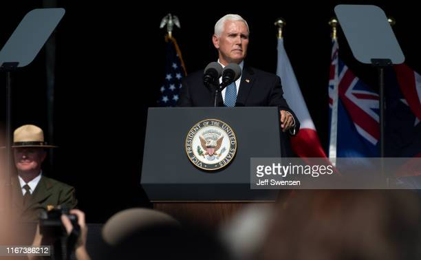 S Vice President Mike Pence delivers a speech at the Flight 93 National Memorial on September 11 2019 in Shanksville Pennsylvania Today marks the...