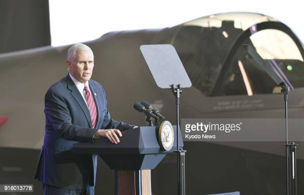 US Vice President Mike Pence delivers a speech before US military personnel at Yokota Air Base in a Tokyo suburb on Feb 8 2018 ==Kyodo
