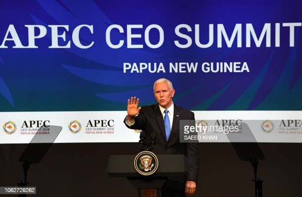 US Vice President Mike Pence delivers his keynote speech at the CEO Summit of the AsiaPacific Economic Cooperation summit in Port Moresby on November...