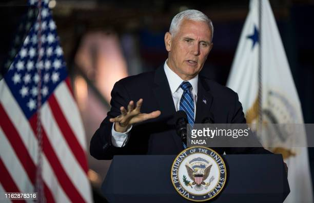 Vice President Mike Pence delivers opening remarks during the sixth meeting of the National Space Council August 20 2019 at the Smithsonian National...