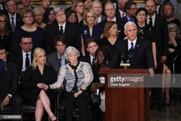 Vice President Mike Pence delivers remarks as Roberta McCain the mother of the late US Senator John McCain and granddaughter Meghan McCain attend the...