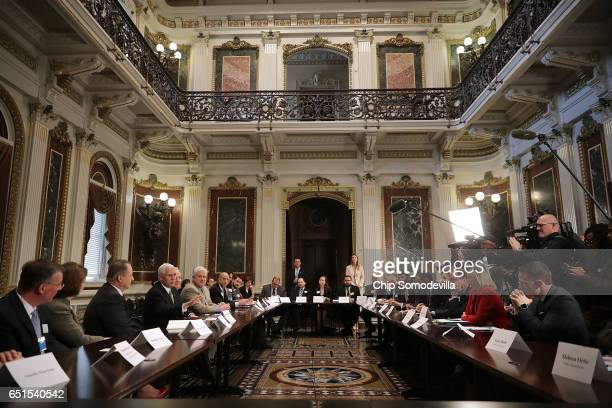 S Vice President Mike Pence delivers remarks at the beginning of a meeting with representatives of conservative political organizations to discuss...