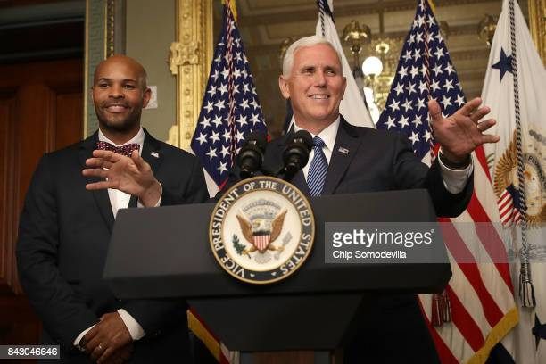 S Vice President Mike Pence delivers remarks before swearing in Dr Jerome Adams as US Surgeon General in the Eisenhower Executive Office Building...
