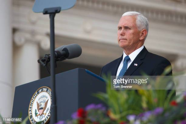 S Vice President Mike Pence delivers remarks inside the Amphitheater during a Memorial Day event at Arlington National Cemetery on May 27 2019 in...