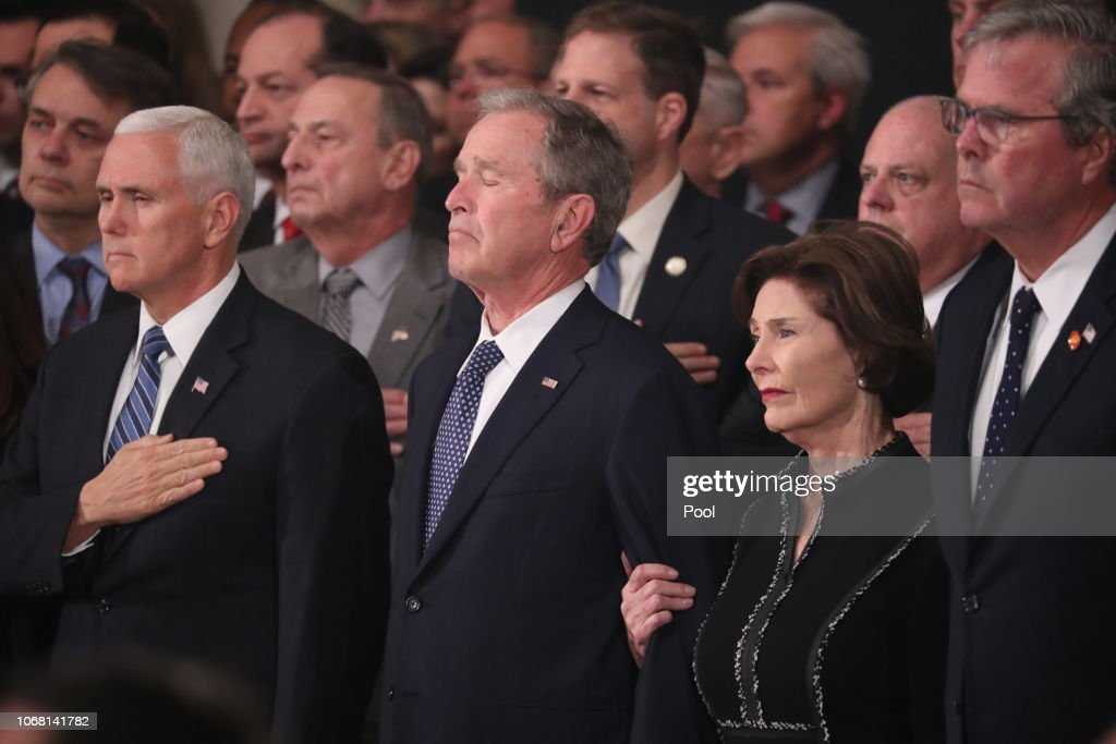 Congressional Leaders Host Arrival Ceremony  At Capitol For Late President George H.W. Bush : News Photo