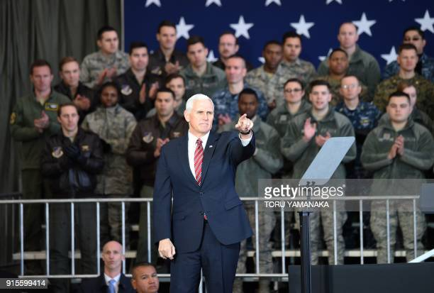 US Vice President Mike Pence gestures after addressing US soldiers at Yokota Air Base at Fussa near Tokyo on February 8 2018 Pence is on the last day...