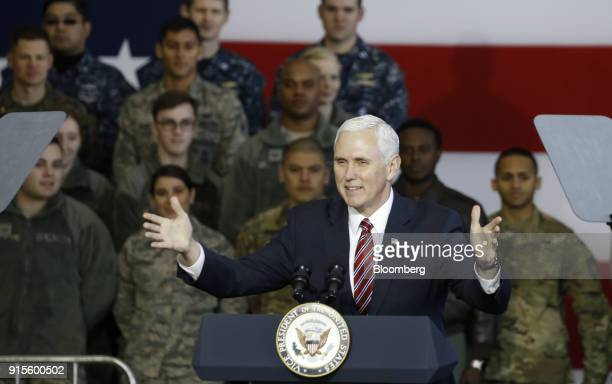 US Vice President Mike Pence gestures as he addresses US military personnel at Yokota Air Base in Fussa Tokyo Metropolis Japan on Thursday Feb 8 2018...