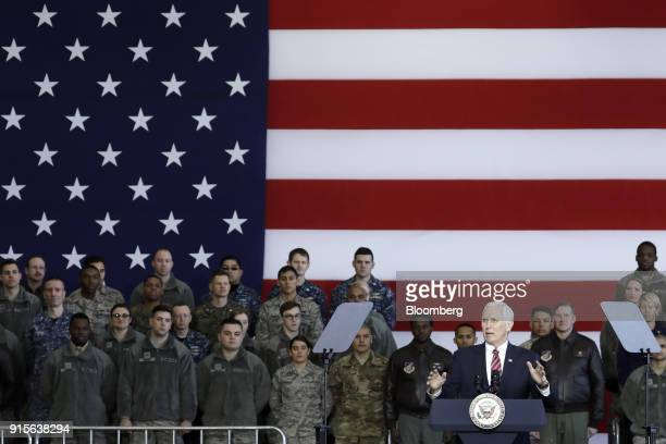 US Vice President Mike Pence gestures as he addresses US military personnel at US Yokota Air Base in Fussa Tokyo Metropolis Japan on Thursday Feb 8...