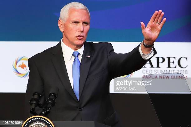 US Vice President Mike Pence gestures at the APEC CEO Summit 2018 in Port Moresby on November 17 a part of the AsiaPacific Economic Cooperation Summit