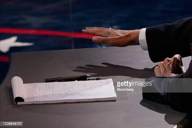 Vice President Mike Pence gestures during the U.S. Vice presidential debate at the University of Utah in Salt Lake City, Utah, U.S., on Wednesday,...