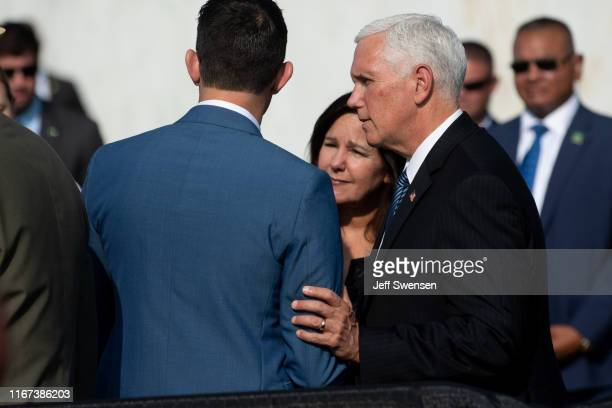 S Vice President Mike Pence greets family members of the September 11 terrorist attacks victims before delivering a speech at the Flight 93 National...