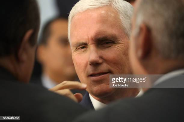 Vice President Mike Pence greets people after speaking about the ongoing crisis in Venezuela at Our Lady of Guadalupe Catholic Church on August 23...