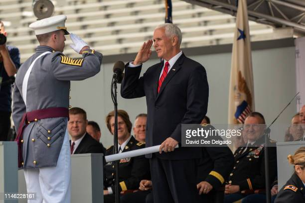 Vice President Mike Pence hands out diplomas at the U.S. Military Academy Class of 2019 graduation ceremony at Michie Stadium on May 25, 2019 in West...