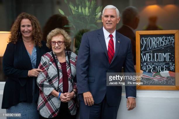 Vice President Mike Pence his mother Nancy Pence Fritsch and his sister Anne Pence Poynter arrive in Doonbeg to visit Morriseys a seafood restaurant...