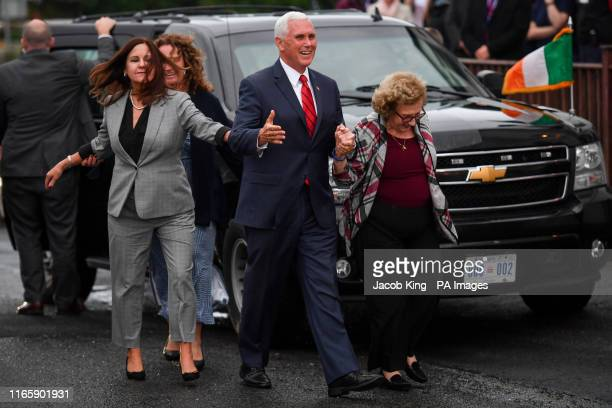 Vice President Mike Pence his mother Nancy Pence Fritsch and Second Lady Karen Pence arrive in Doonbeg to visit Morriseys a seafood restaurant where...