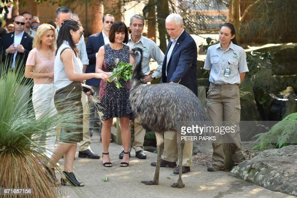 US Vice President Mike Pence his wife Karen and daughters Audrey and Charlotte look at an emu during a visit to Taronga Park Zoo in Sydney on April...