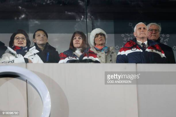US Vice President Mike Pence his wife Karen North Korea's leader Kim Jong Un's sister Kim Yo Jong and Kim JungSook the wife of South Korea's...