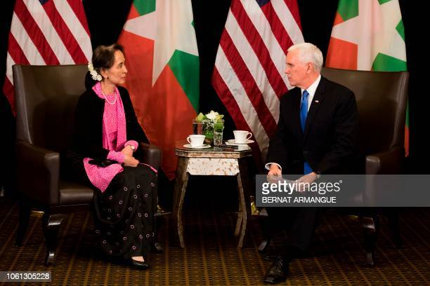 US Vice President Mike Pence holds a bilateral meeting with Myanmar State Counsellor Aung San Suu Kyi on the sidelines of the 33rd Association of...