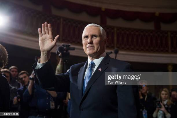 Vice President Mike Pence is seen after administering an oath to Sen Tina Smith DMinn and Sen Doug Jones DAla during a swearingin ceremony in the...