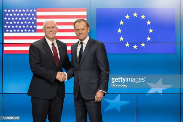 Vice President Mike Pence, left, and Donald Tusk, president of the European Union , pose for photograph ahead of a meeting at the Europa building in...