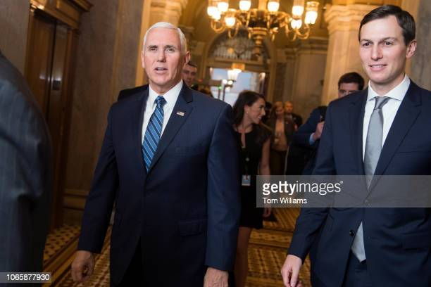 Vice President Mike Pence left and White House advisor Jared Kushner make their way to the Senate Republican policy luncheon in the Capitol on...