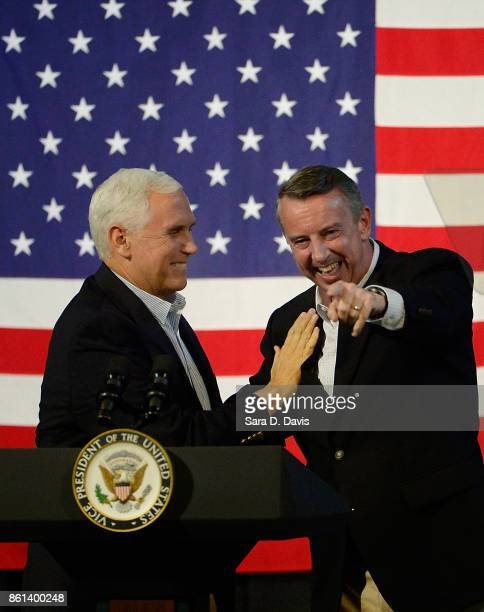 S Vice President Mike Pence left gubernatorial candidate Ed Gillespie RVA after a campaign rally at the Washington County Fairgrounds on October 14...