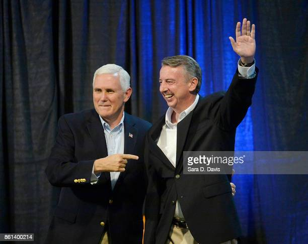 S Vice President Mike Pence left points to gubernatorial candidate Ed Gillespie RVA during a campaign rally at the Washington County Fairgrounds on...