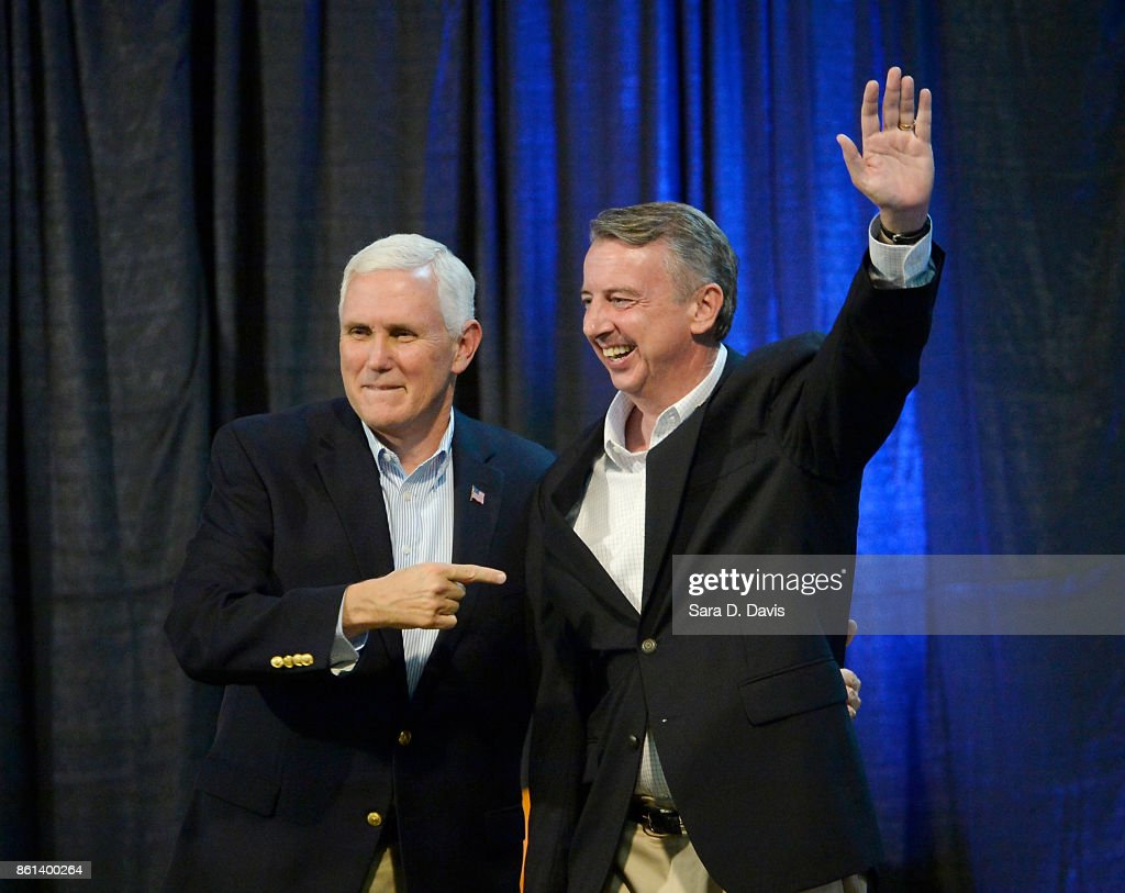 Pence Joins GOP VA Gubernatorial Candidate Ed Gillespie At Campaign Rally : News Photo