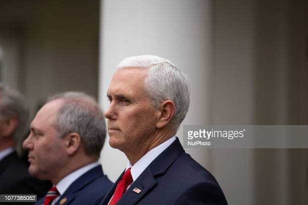 Vice President Mike Pence looks on as President Donald Trump speaks to and takes questions from the media in the Rose Garden of the White House after...