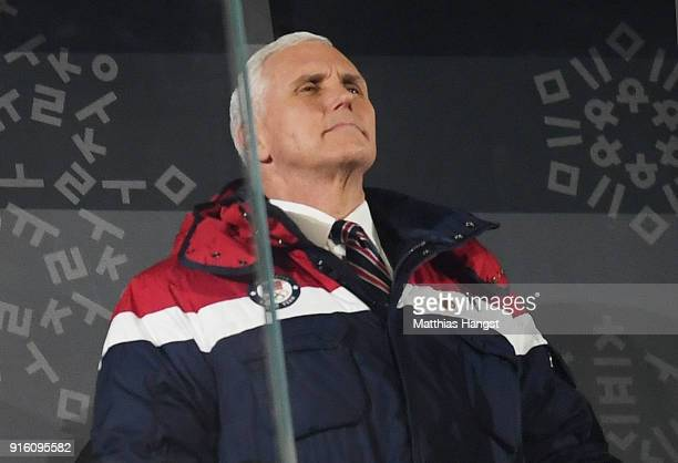 S Vice President Mike Pence looks on during the Opening Ceremony of the PyeongChang 2018 Winter Olympic Games at PyeongChang Olympic Stadium on...